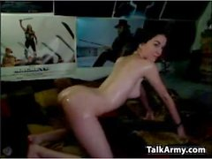 Slim Cam Girl Gets Oiled Up