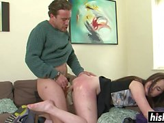 Brunette Amber jumps on a fat cock
