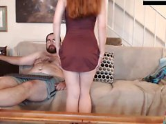 Redhead teen girl striptease