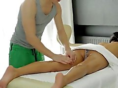 Young masseur is working hard to joy horny beauty