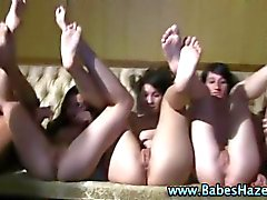 Real amateur college lesbians sit in dildos in reality groupsex