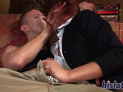 Young redhead babe has her beaver slammed