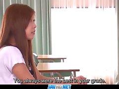 Subtitles Asian teen Nozomi Nishiyama sucking an