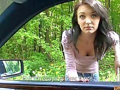 Tight hitchhiking teen Belle Claire fucked in a car