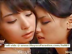 Maria and Yuka Osawa innocent asian girls licking and fingering
