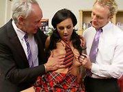Daring pornstar gets a severe fucking in a threesome sex