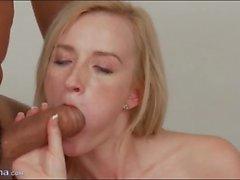Skinny blonde gives big cock a blowjob