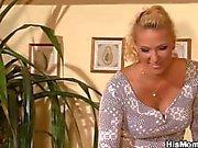 Horny mature lesbian seduces son's GF