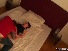 Skinny teen bedroom plowing
