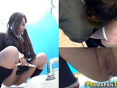Hairy japanese teens pee