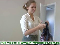Riley sensual young blonde amateurundressingtrying on underwear