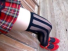 softcore asian schoolgirl plad skirt stocking and panty