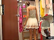 Lovely teen in sexy dress and white panties gives upskirt