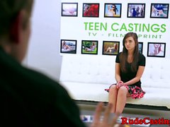 Teen beauty banged at casting by fat prick