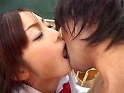 Naughty Japanese teen sensually strokes a hard prick in the