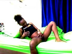 Petite Ebony teen virgin masturbates and cums for you