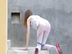 Luxury peening of super skeletal girl