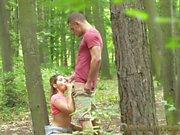 Dane Jones Young lovers outdoor fuck in public woods