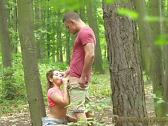 Dane Jones Young lovers outdoor fuck in public woods