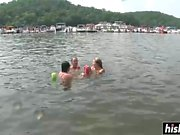 Amazing teens get naked on the lake