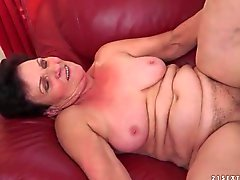 Saggy tits grandma fucked by young dick