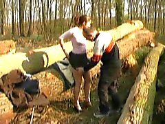 FRENCH CASTING n6 petite brunette teen in a forest