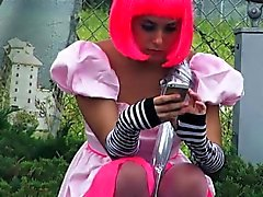 Cosplaying teen exposes tits and fucked