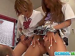 Teen Rena Konishi And A Friend Team Up On A Guy At School