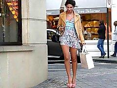 Teen shopping public in high heels & dress (+upskirt)
