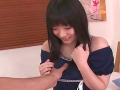 Fondling her Japanese teen tits is sexy