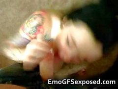 Hot tattooed emo sucking her boyfriend part3