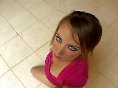 Cutie pie teen gets analed like dog on floor