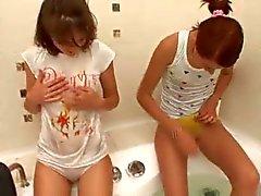 Two cuties in bathroom