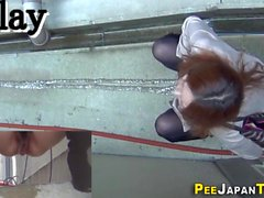 Asian teens pee squatting