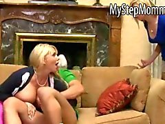 Molly Bennett caught her BF sucking off by a huge tits MILF