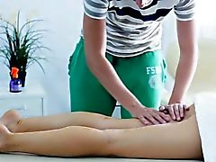 Oral job inside massage room