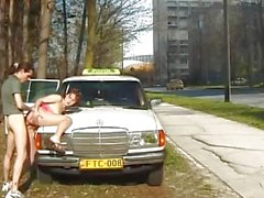 Busty teen's sex adventures in the street