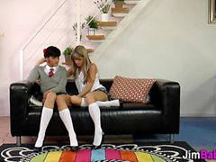 Uniform teen rides 3some