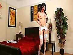 white stockings and hot brunette