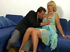Horny mature lady spreads her hairy pussy for some young cock