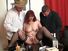 Grandma and friends from poker to threesome fuck