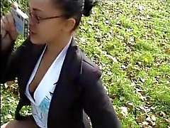 HOT GIRL n87 french brunette teen in a parc