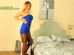 Incredible blonde pose in high heels