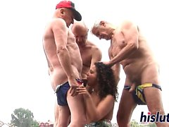 Kinky gangbang action with a raunchy bitch