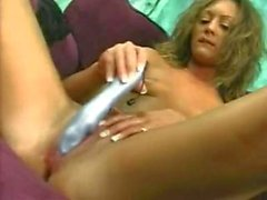 Her blue vibrator is the key to pleasure