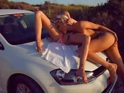 Hot Russians Kitana & Nancy lesbian sex at the beach