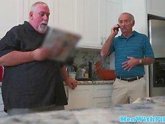 Pornstar Aria Rose rimming elderly mans ass