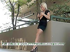 Audrey angelic blonde teenage posing and flashing big tits