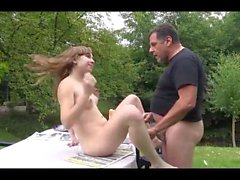 young fira fucked on garden table by old gardener