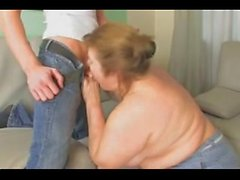 Young guy fucking with fat old prostitute